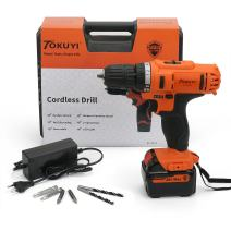 Tokuyi 18V Cordless Drill Driver Kit (Max Torque 32Nm, 18+1 Position, 3/8'' Keylesss Chuck, 2-Variable Speed, 1.5Ah Li-ion Battey) with LED Worklight, 1 Hour Fast Charger