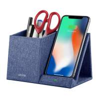 Lecone 10W Fast Wireless Charger with Desk Organizer Qi Certified Fabric Induction Charger Stand Pen Pencil Holder Compatible iPhone Xs MAX/XR/XS/X/8/8 Plus, Samsung S10/S9/S9+/S8/S8+/Note 10, Black