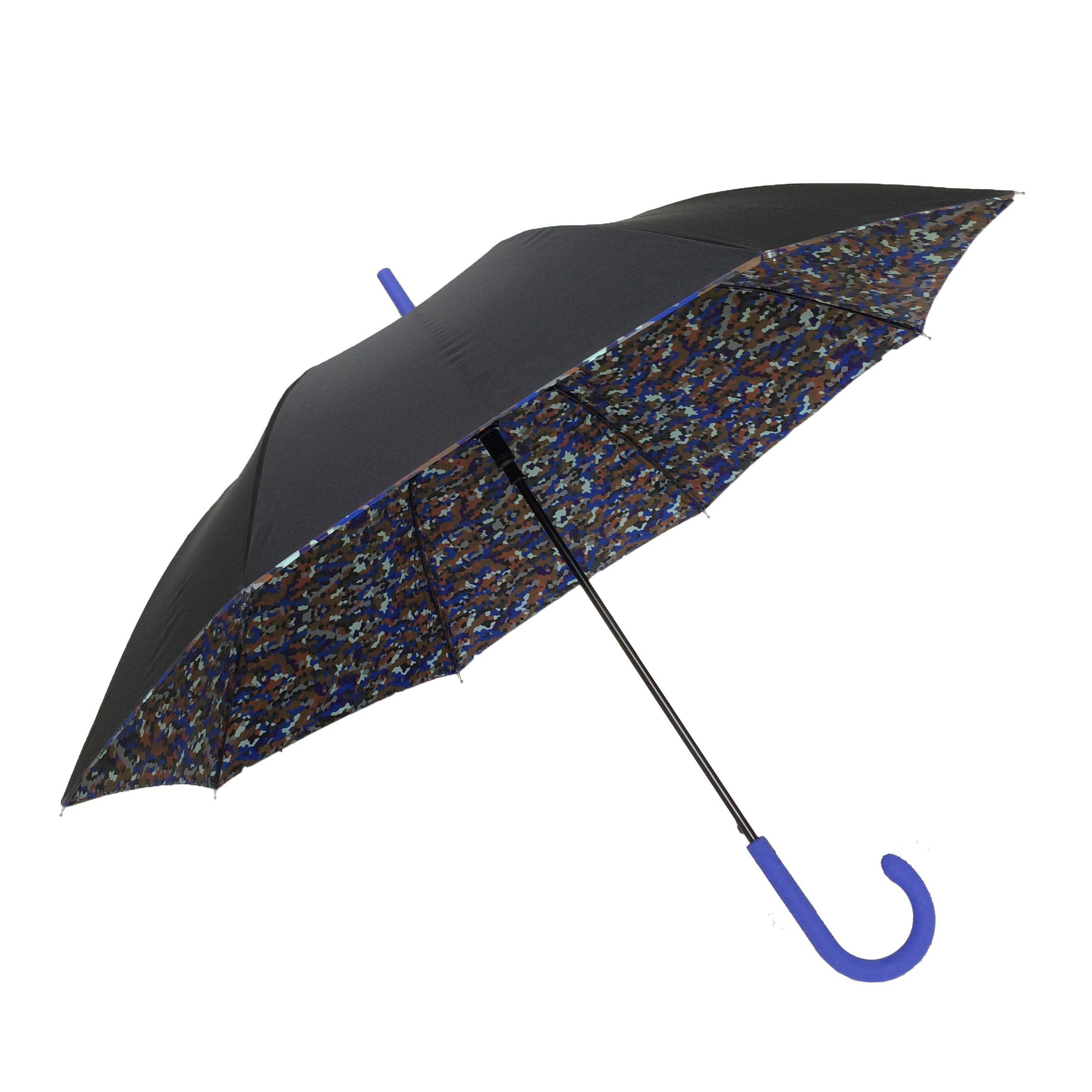 SMATI Stick Umbrella - Double Layers - French Design - Fashion - Sturdy - 8 fibreglass ribs Windproof - color (Blue Camouflage)