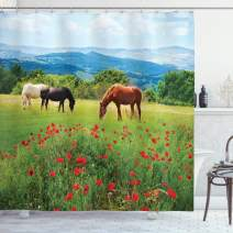 """Ambesonne Horses Shower Curtain, Various Kinds of Horses Eating Grass in Field Mountain Landscape Rural Scene Print, Cloth Fabric Bathroom Decor Set with Hooks, 84"""" Long Extra, Green Red"""