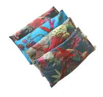 Scented Eye Pillows - Pack of (4) - Soft Cotton 4 x 8.5 - Organic Lavender Flax Seed - Hand Block Print - Birds Flowers Purple Black Blue Gray Green