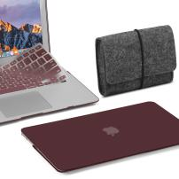GMYLE MacBook Air 13 Inch Case A1466 A1369 Old Version 2010 2017, Storage Bag Pouch for Travel and Keyboard Cover 3 in 1 Set (Burgundy)