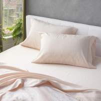 Welhome 300 Thread Count Queen Size Cotton Tencel Lyocell Sateen Sheet Set - 4 Piece - Supersoft & Smooth - Luxurious Feel - Sustainable - Breathable - Deep Pocket - Blush