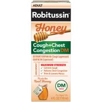 Robitussin Honey Adult Maximum Strength Cough + Chest Congestion DM Max, Non-Drowsy Cough Suppressant & Expectorant, Real Honey, 4 fl. oz. Bottle