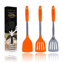 Orange Silicone Spatula Turner Set – Stainless Steel and Silicone Heat Resistant Kitchen Utensils – 608F – Grill Spatula Tools for BBQ - Egg and Pancake Flipper – Gift Box and Bonus Recipe Ebook