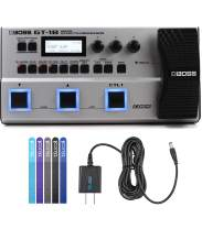 BOSS GT-1B Bass Effects Processor Bundle with Blucoil Power Supply Slim AC/DC Adapter for 9 Volt DC 670mA, and 5-Pack of Reusable Cable Ties