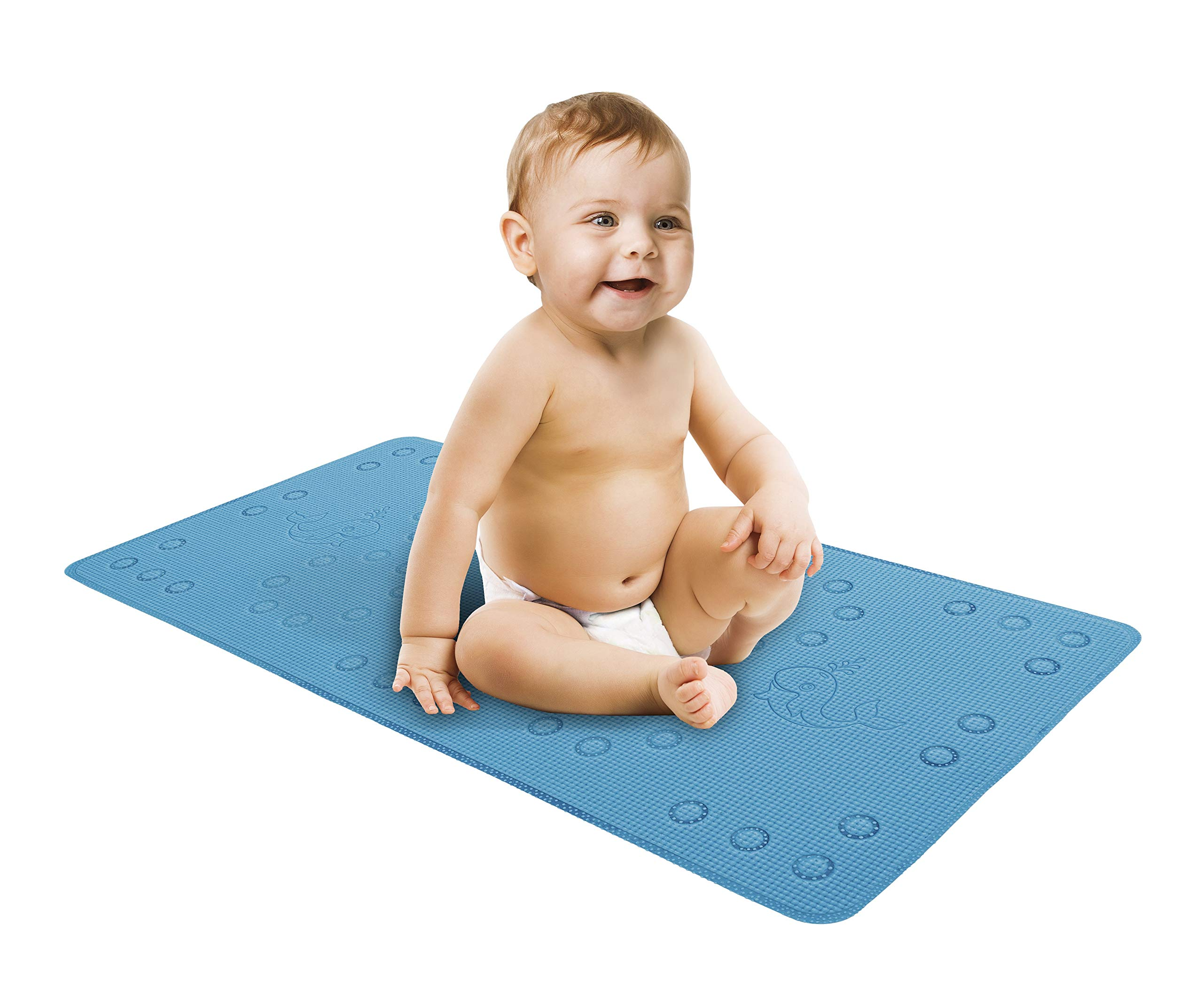 Baby Bath Mat for tub or Shower - Cushioned & Textured for Comfort and Safety, Large Non Slip Resistant bathmats for Babies, Children, Toddlers - Strong Nonskid Suction Cup Grip - Whale Design in Blue