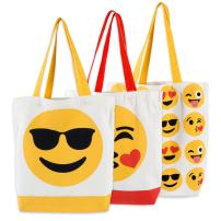 "DII CAMZ37682 Cotton Heavy Duty Canvas Reusable Tote Bag, 15x15.5x4.25"" Setof 3, Machine Washable Shopping Bag for Grocery, School Book and Stationary-Emoji"