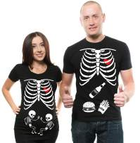 Silk Road Tees Twins Maternity Couple Matching T-Shirt Halloween Skeleton Costume Dad Maternity Mom Pregnancy