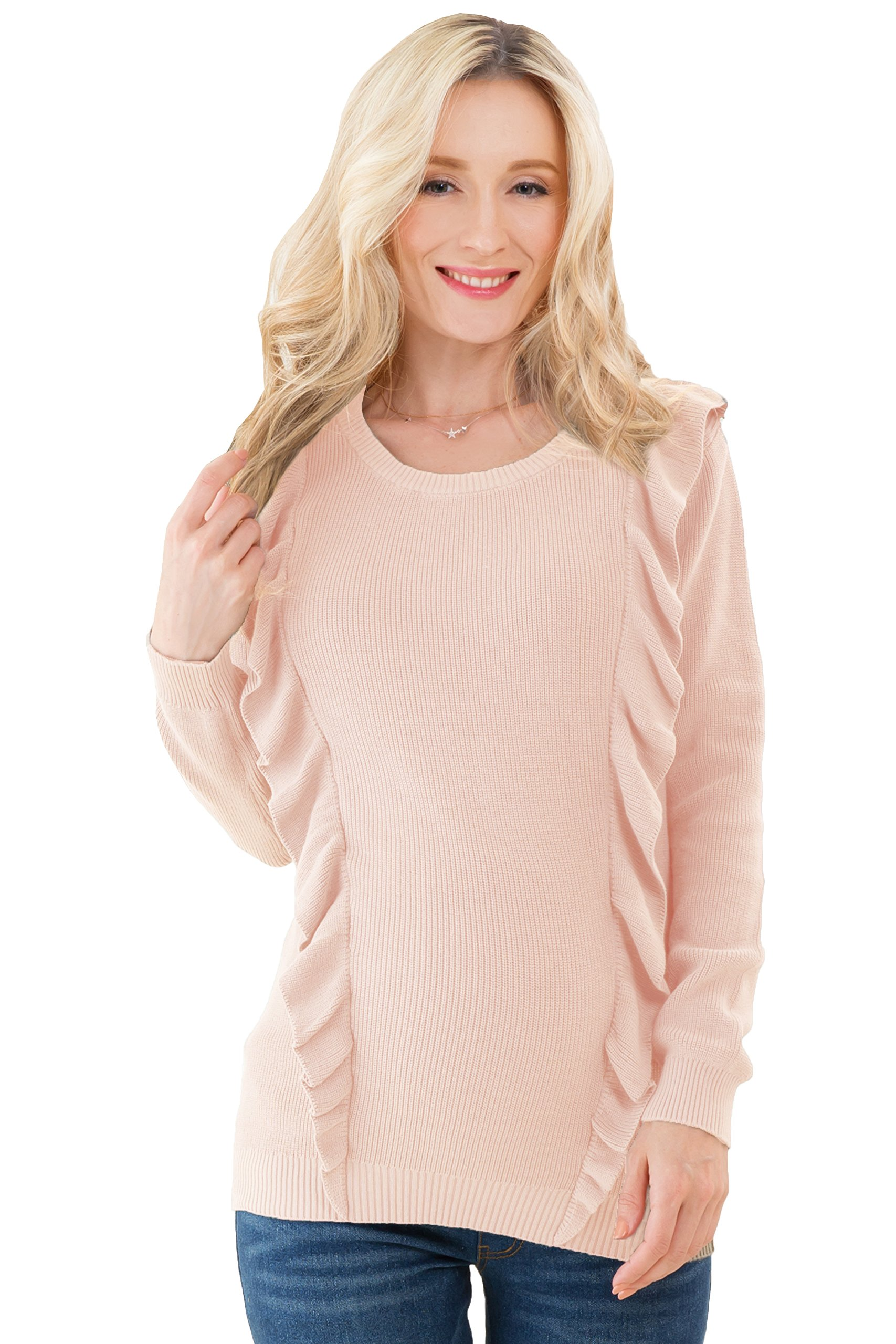 Sweet Mommy Maternity and Nursing Organic Cotton Frilled Knit Sweater Top