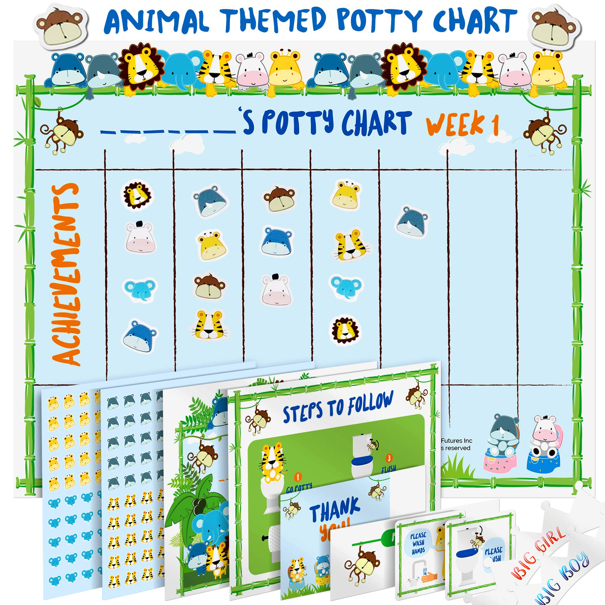 Princess Themed Magnetic Potty Reward Chart with Star Magnets and Crown Potty Training Chart for Toddlers