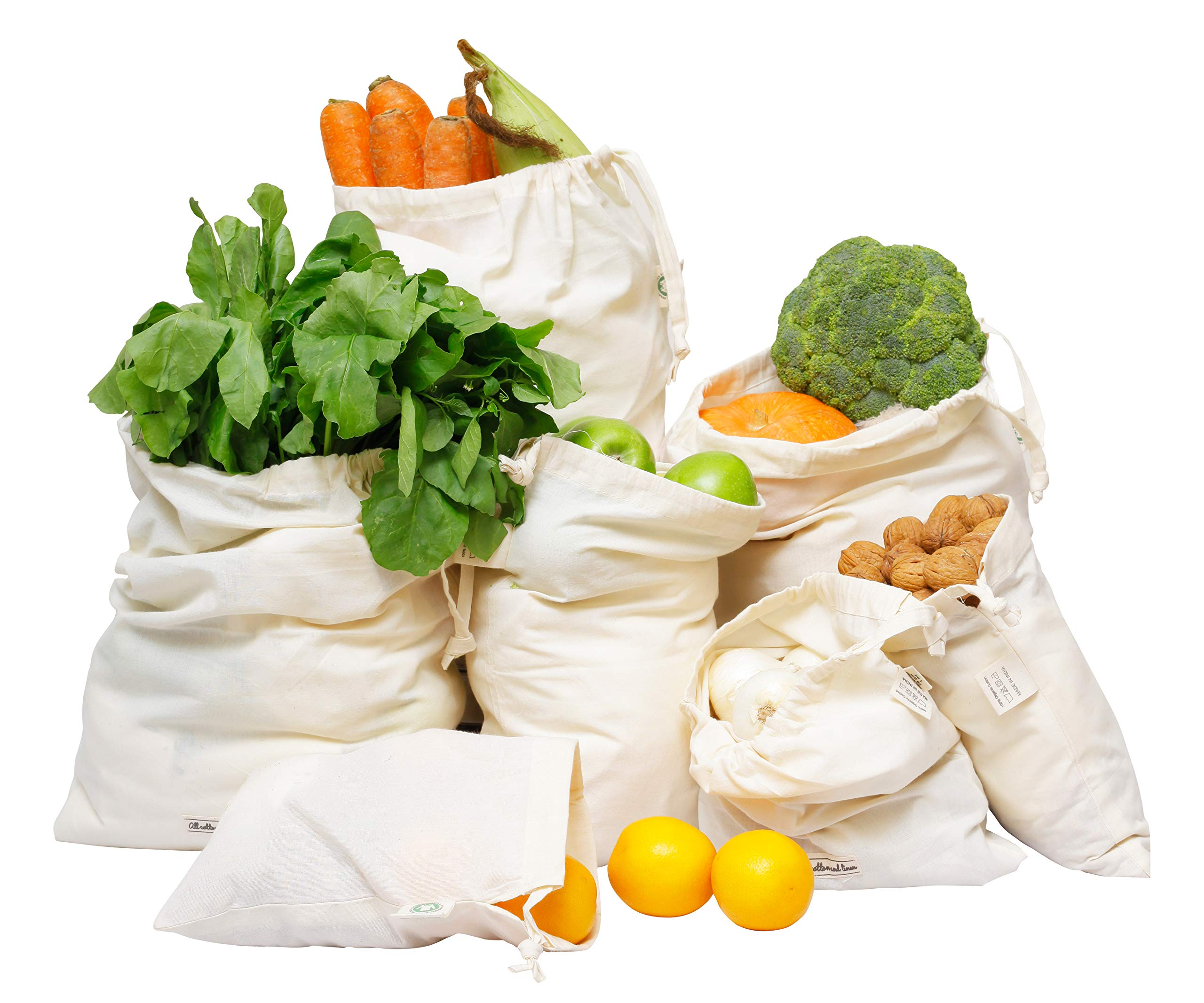 Muslin Produce Cotton Vegetable Bags - Cotton Grocery Shopping Bags (Bulk, Heavy Duty, and Drawstring Bags) Organic Storage Bag - Reusable Veggie Bags set of 7 (1 of XXL, L, M, S, XS & 2 of XL)