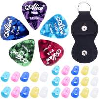 Guitar Picks & Guitar Pick Holder Guitar Accessory Kit,DERMASY Double Sided Guitar Picks with Leather Key Chain Pick Holder and Guitar Fingertip Protectors for Guitar Electric Guitar Bass Ukulele