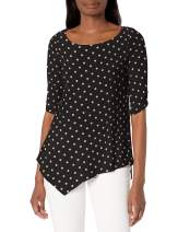 Star Vixen Women's Hanky Hem Top, Elbow Sleeve with Cinch Detail