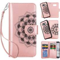 Vofolen Case for Galaxy S8 Case Wallet Credit Card Holder ID Slot Detachable Strap Hybrid Protective Slim Hard Shell Magnetic PU Leather Folio Pocket Flip Cover Case for Galaxy S8 Mandala Rose Gold