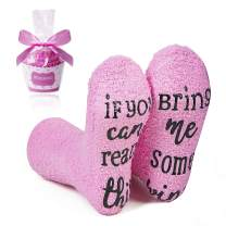 Cupcake Gift Packaging Socks for Women with If You Can Read This Bring Me Phrase-Festival Gifts