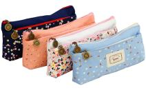 IPOW Flower Floral Canvas Cosmetic Pen Pencil Stationery Pouch Bag Case, Pastoral, Set of 4