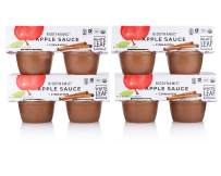 White Leaf Provisions' — 4oz. 16 Cups of Biodynamic Organic Apple+Ceylon Cinnamon Sauce Pack —Applesauce Unsweetened — Organic Healthy Snack Cup — Great for Kids & Adults