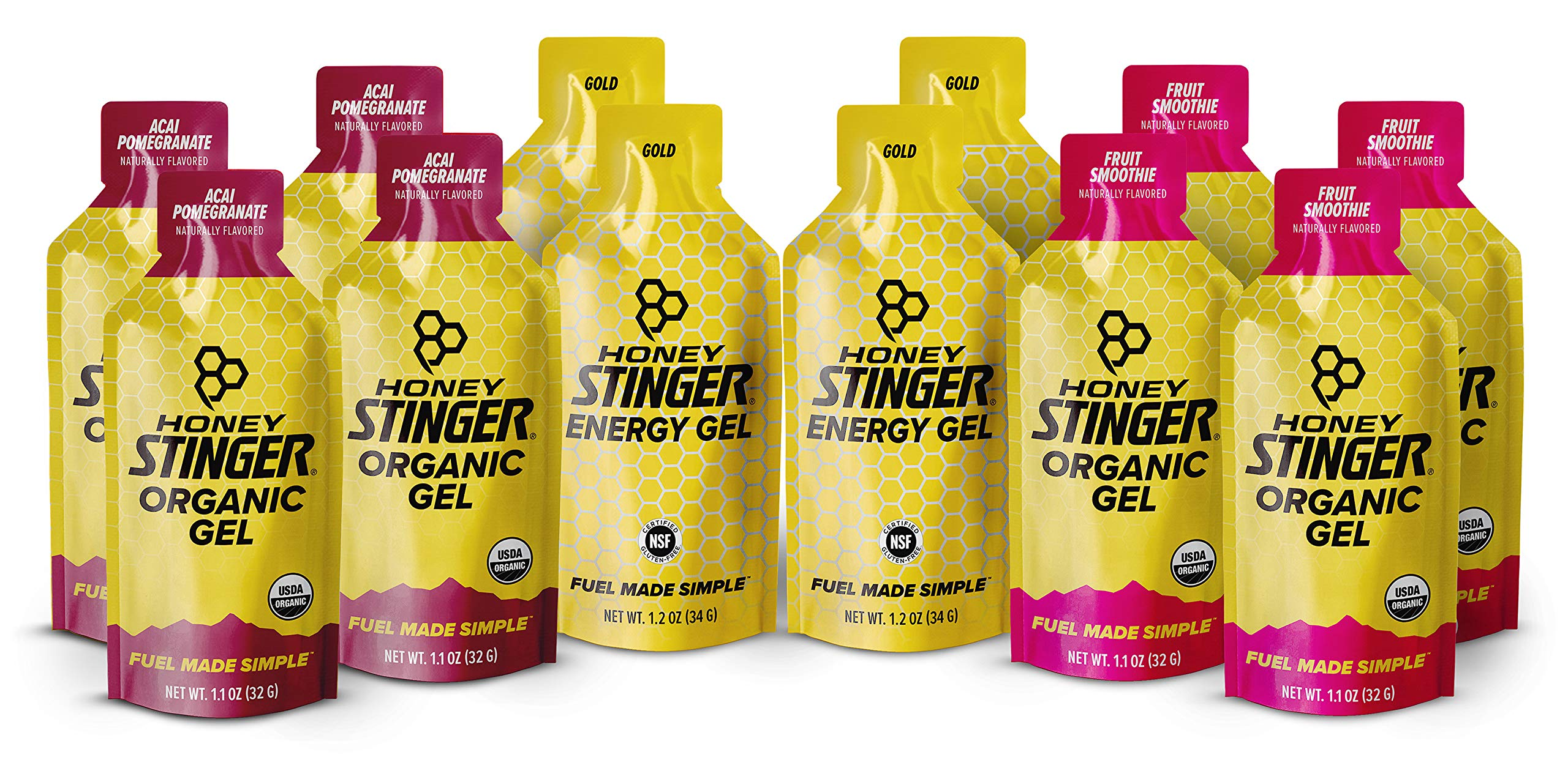Honey Stinger Organic Energy Gels – Variety Pack with Sticker­ – 12 Count – 4 of Each Flavor – Energy Source for Any Activity – Acai Pomegranate, Gold & Fruit Smoothie