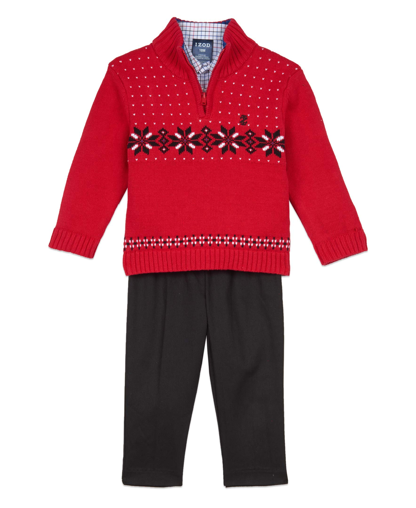 Izod Baby Boys 3-Piece Sweater, Dress Shirt, and Pants Set