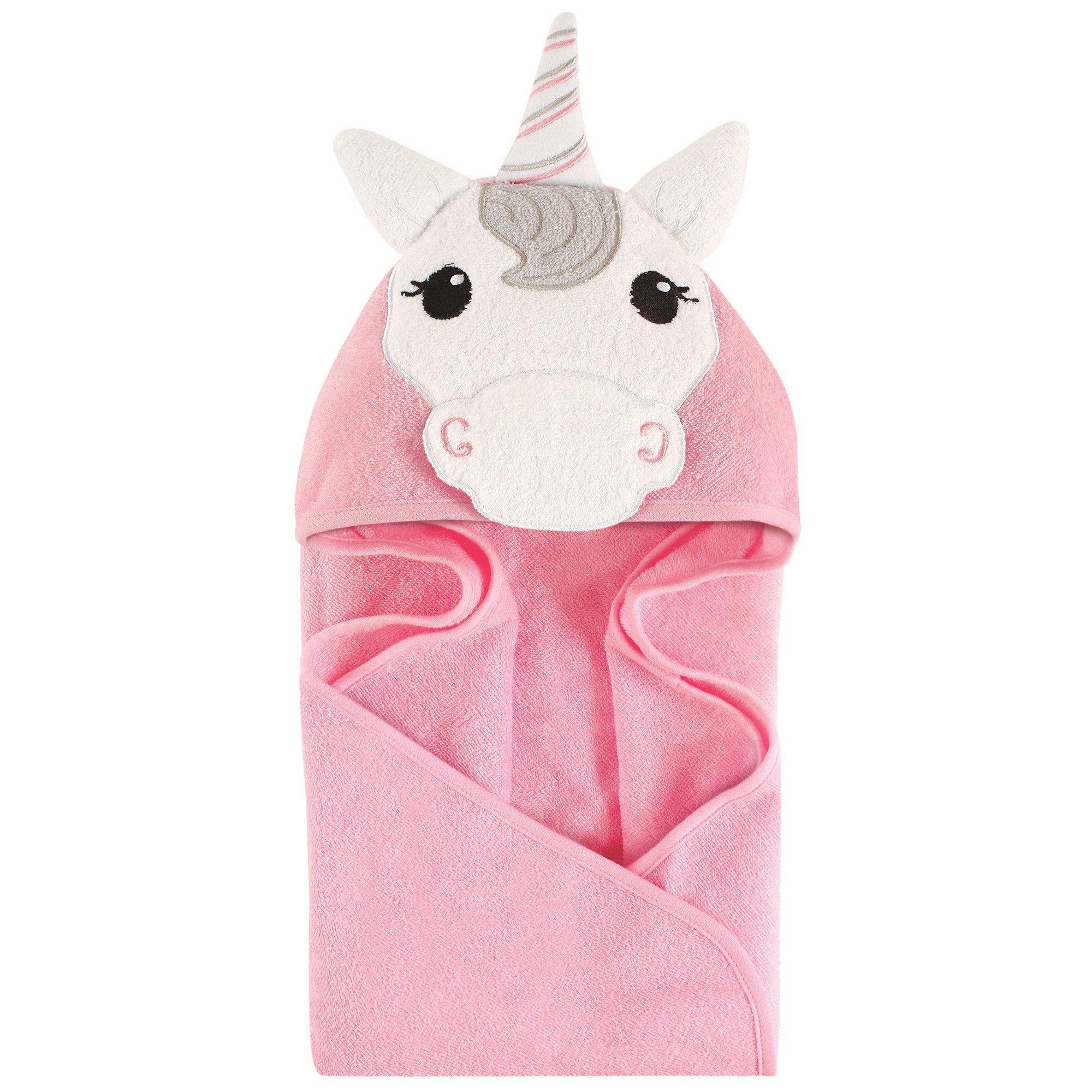 Hudson Baby Unisex Baby Cotton Animal Face Hooded Towel, Unicorn, One Size