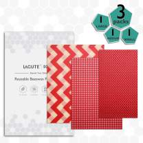 Lagute Reusable Beeswax Food Wrap, Eco-friendly & Organic Food Storage Wrappers,Washable and Sustainable, Zero Waste, 3 Pack (Red)