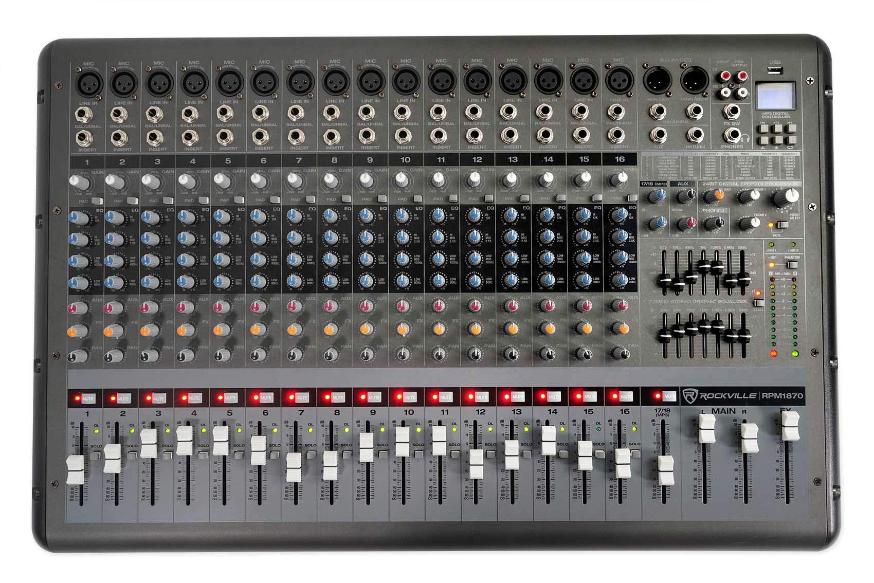 Rockville 18 Channel 6000w Powered Mixer w/USB, Effects/16 XDR2 Mic Pres (RPM1870)