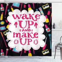"""Ambesonne Saying Shower Curtain, Witty Saying Wake Make with Cosmetic Lipstick Mascara and Nail Polish, Cloth Fabric Bathroom Decor Set with Hooks, 75"""" Long, Black Pink"""