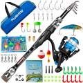 PLUSINNO Kids Fishing Pole, Portable Telescopic Fishing Rod and Reel Combo Kit - with Spinning Fishing Reel Tackle Box for Boys, Girls, Youth
