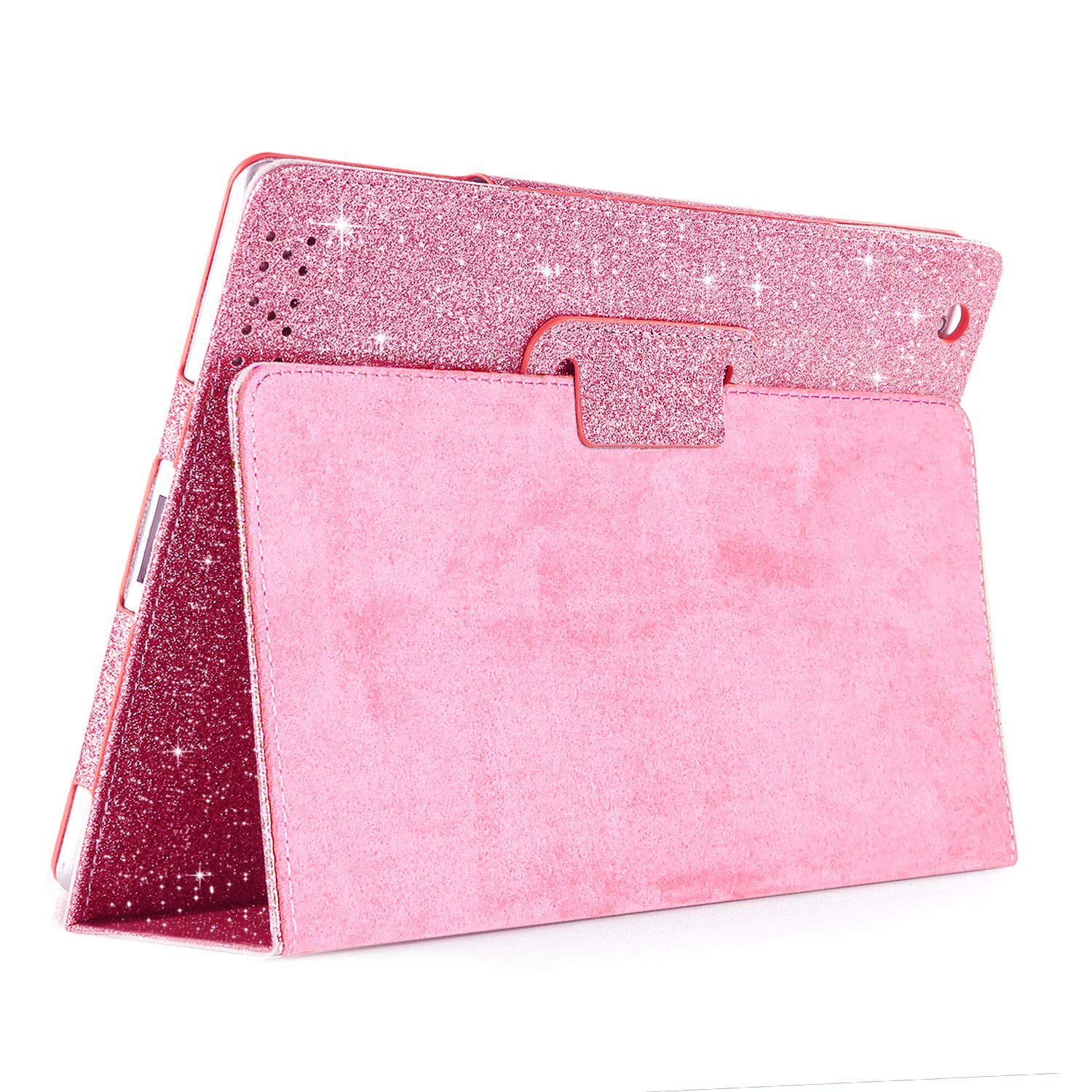 iPad 2/3/4 Glitter Case,FANSONG Sparkle Bling PU Leather Smart Cover [Flip Stand Function] [Auto Sleep/Wake] Case for Apple iPad 2/3/4 (Bling Pink)