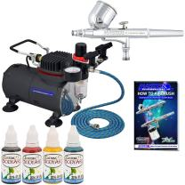 Professional Master Airbrush Water-Based Face Paint Temporary Tattoo Airbrushing System Kit with a Custom Body Art 4 Color Face Paint Set - G22 Gravity Feed Airbrush and Powerful Air Compressor