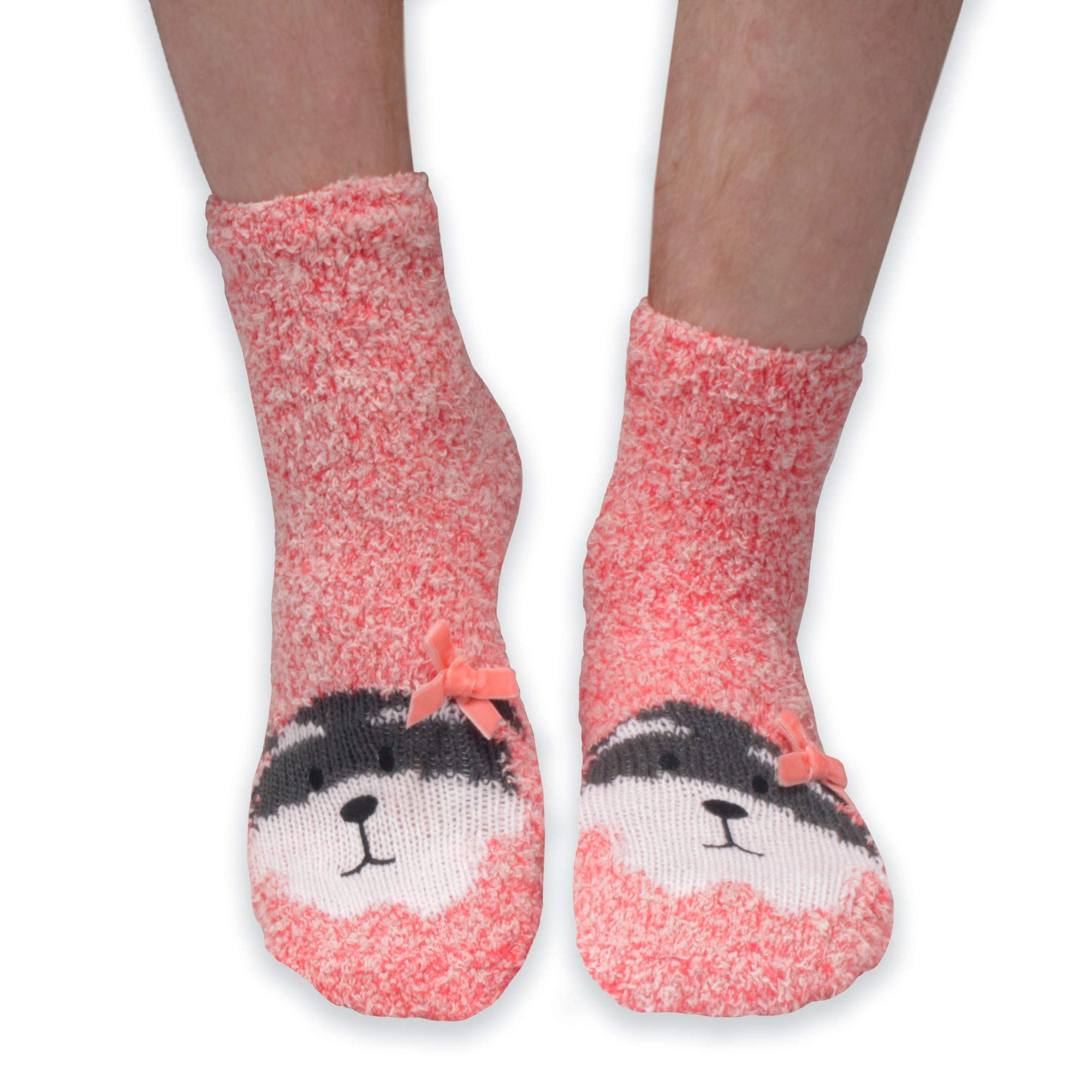 Super Soft Cozy Warm Cute Animal Non-Slip Fuzzy Crew Winter Socks, 1 Pair Raccoon