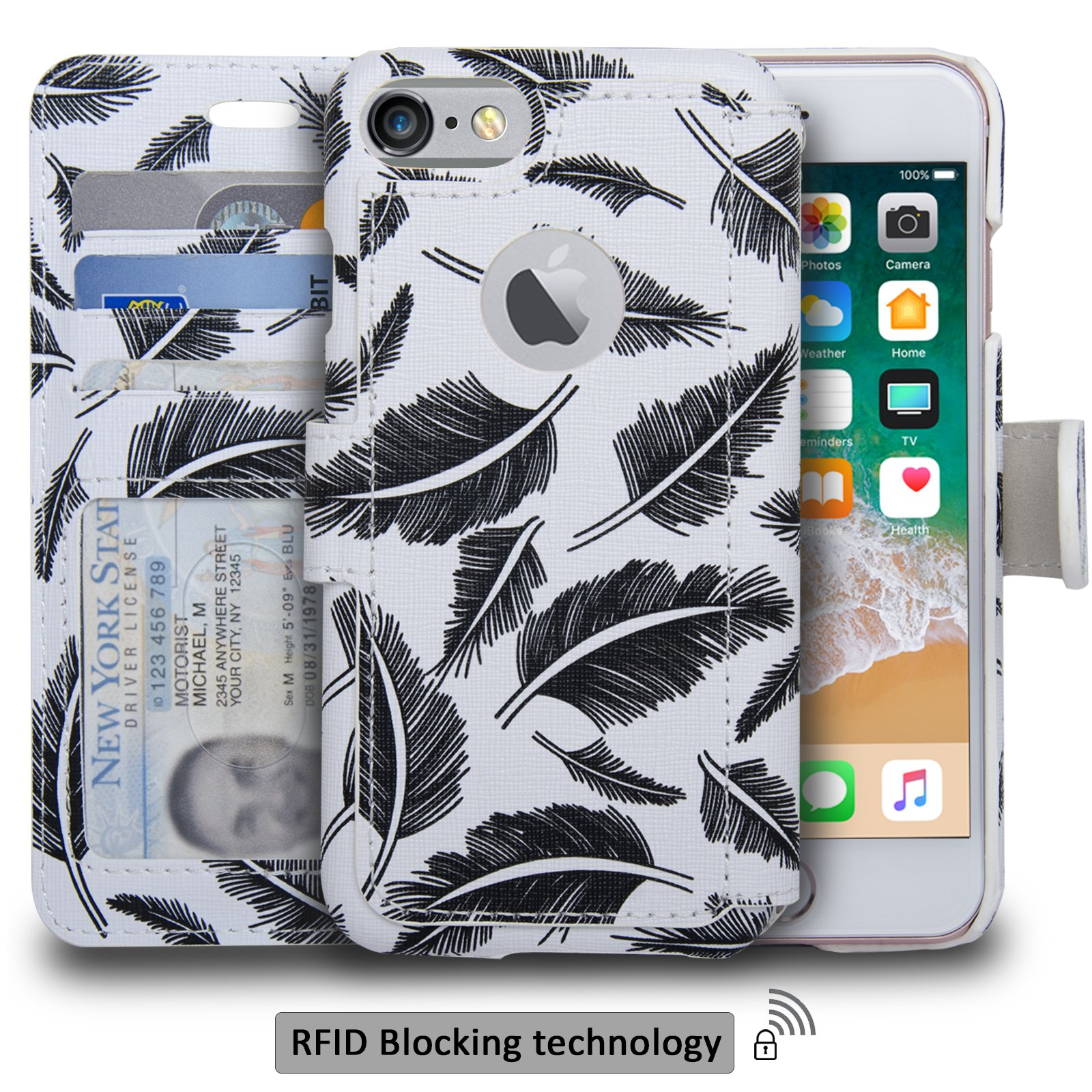navor Slim & Light Premium Flip Wallet Case with RFID Protection Compatible for iPhone 7 & 8 - [4.7 inch] (Zevo S2 Series) - Oliver
