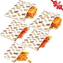 Reusable Sandwich Bags Snack Bags by Urban Green, Lunch Bags for Kids, 5 pack, Food Storage Bags, Toiletry Makeup Bags, Food Wraps, Cable Travel Organizer, Accessory Bags (Cute Seahorse)