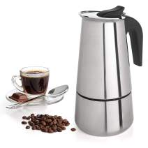 Coffee Maker Stovetop Espresso Coffee Maker Moka Coffee Pot with Coffee Percolator Design Stainless Steel - by Mixpresso (9 Cup) (15 Ounces)