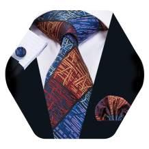 Barry.Wang Men Silk Tie Set Designer Abstract Necktie Pocket Square Cufflinks