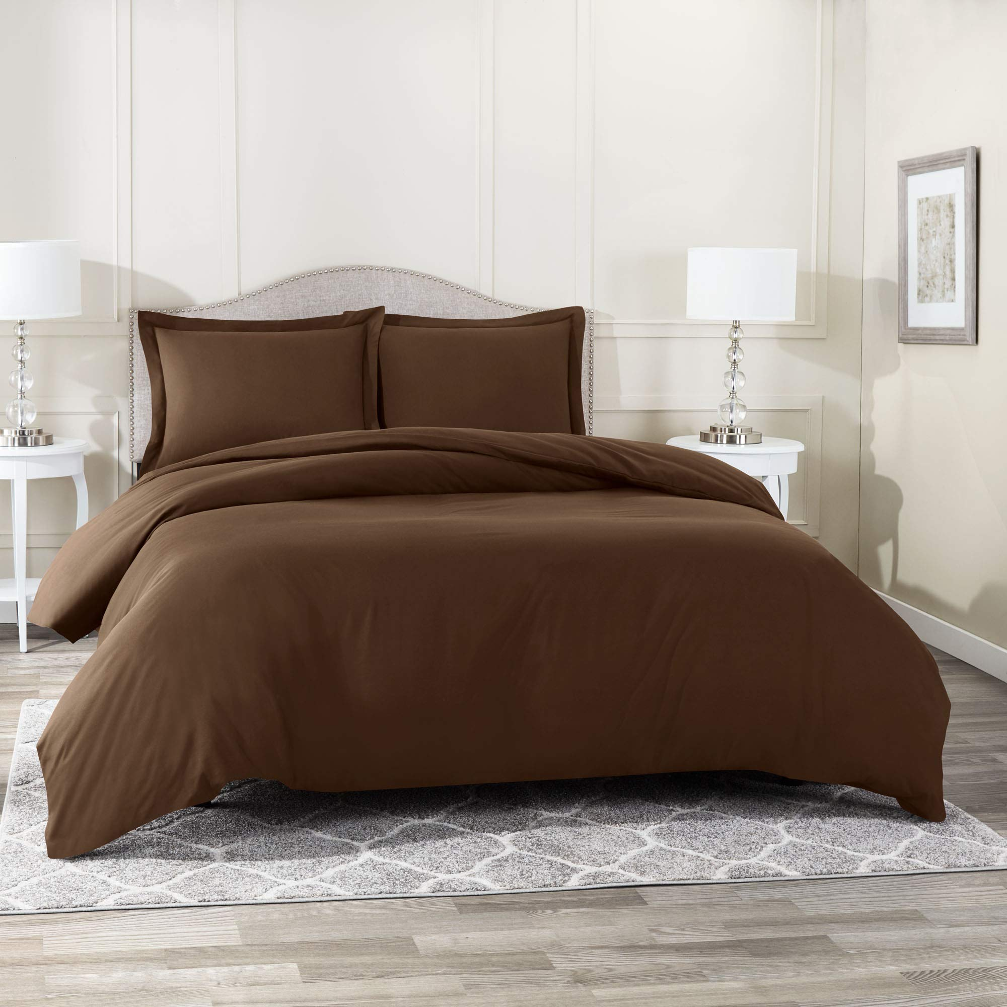 Nestl Bedding Duvet Cover with Fitted Sheet 4 Piece Set - Soft Double Brushed Microfiber Hotel Collection - Comforter Cover with Button Closure, Fitted Sheet, 2 Pillow Shams, Queen - Chocolate Brown