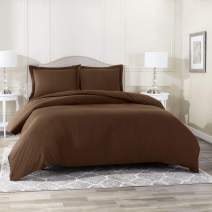 Duvet Cover with Fitted Sheet 4 Piece Set - Soft Double Brushed Microfiber Hotel Collection, Comforter Cover with Button Closure, Fitted Sheet, 2 Pillow Shams, Cal King - Chocolate Brown