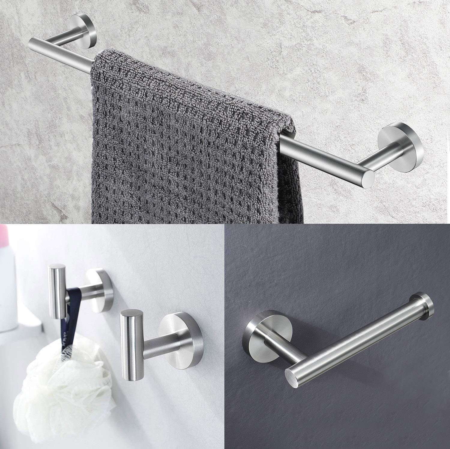 UMIRIO Bathroom Accessories Hardware Set,Bath Towel Bar Holder Set 18-Inch 4 Piece,Bathroom Hanging Set,Toilet Paper Holder, Wall Hooks Hangingx2,Hardware Included,Wall Mounted,Brushed,Stainless Steel