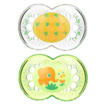 MAM Crystal Pacifier (2 pack, 1 Sterilizing Pacifier Case), Pacifiers 6 Plus Months, Unisex Pacifier, Best Pacifiers for Breastfed Babies, Designs May Vary