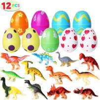 Tinabless Toys Filled Easter Eggs, Bright Colorful Eggs Prefilled with Dinosaur for Easter Theme Party Favor, Easter Eggs Hunt Event, Easter Basket, Classroom Rewards (12 Packs)