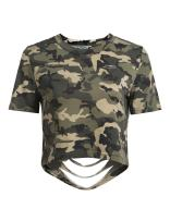 SoTeer Women's Camo Print Crop Top Casual Distressed Short Sleeve T-Shirt