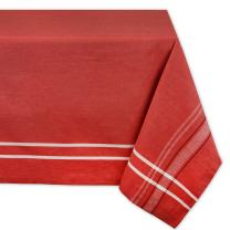 DII 100% Cotton French Stripe Tabletop Collection For Everyday Indoor/Outdoor Dining, Special Occasions or Dinner Parties, Machine Washable, 60 x 120, Red Chambray