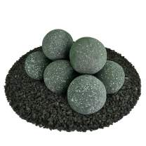 Ceramic Fire Balls | Set of 8 | Modern Accessory for Indoor and Outdoor Fire Pits or Fireplaces – Brushed Concrete Look | Slate Green, Speckled, 5 Inch
