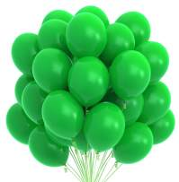 Prextex 75 Green Party Balloons 12 Inch Green Balloons with Matching Color Ribbon for Green Theme Party Decoration, Weddings, Baby Shower, Birthday Parties Supplies or Arch Décor - Helium Quality