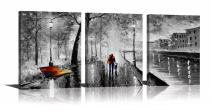 YPY 3 Panel Palette Knife Oil Paintings Abstract Modern City Street View Cityscape Building Artwork Walking Wall Art For Living Room (Black, 12x16in)