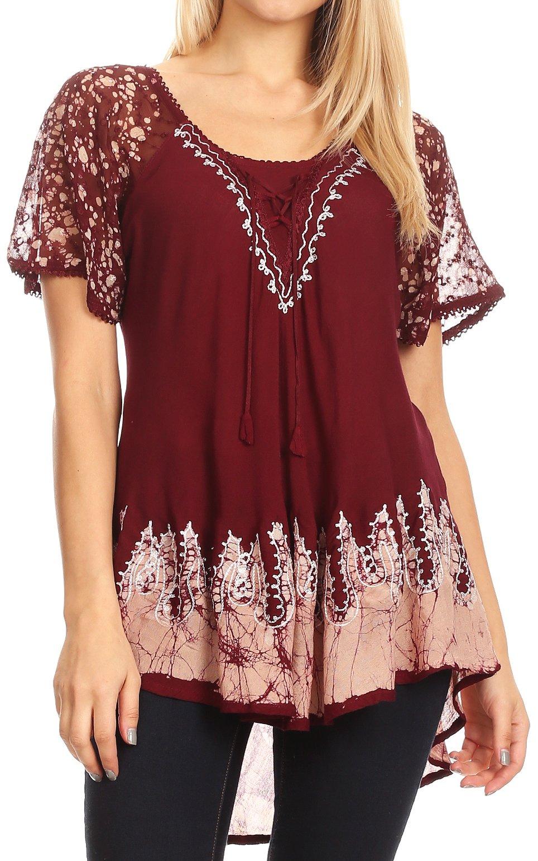 Sakkas Cora Relaxed Fit Batik Design Embroidery Cap Sleeves Blouse/Top
