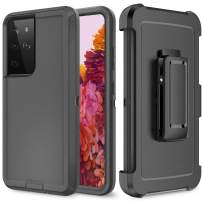 Szfirstey Case with Belt-Clip Holster for Galaxy S21 Ultra , Drop Full Body Rugged Shock Dust Proof 3-Layer Military Protective Tough Phone Cover Heavy Duty for Galaxy S21 Ultra (Black)