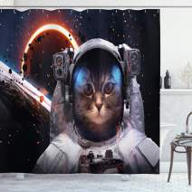 """Ambesonne Space Cat Shower Curtain, Cosmonaut in Comet Galaxy Clusters in Outer Space Cosmos Art Print, Cloth Fabric Bathroom Decor Set with Hooks, 70"""" Long, Dark Blue"""