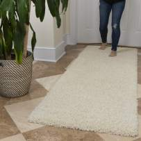 """Ottomanson Soft Cozy Color Solid Shag Runner Rug Contemporary Hallway and Kitchen Shag Runner Rug, Cream, 2'7""""L X 8'0""""W"""